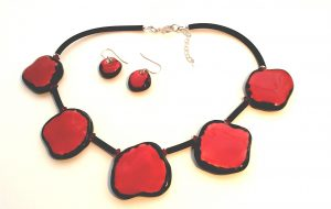 Red Nuggets Necklace & Earrings